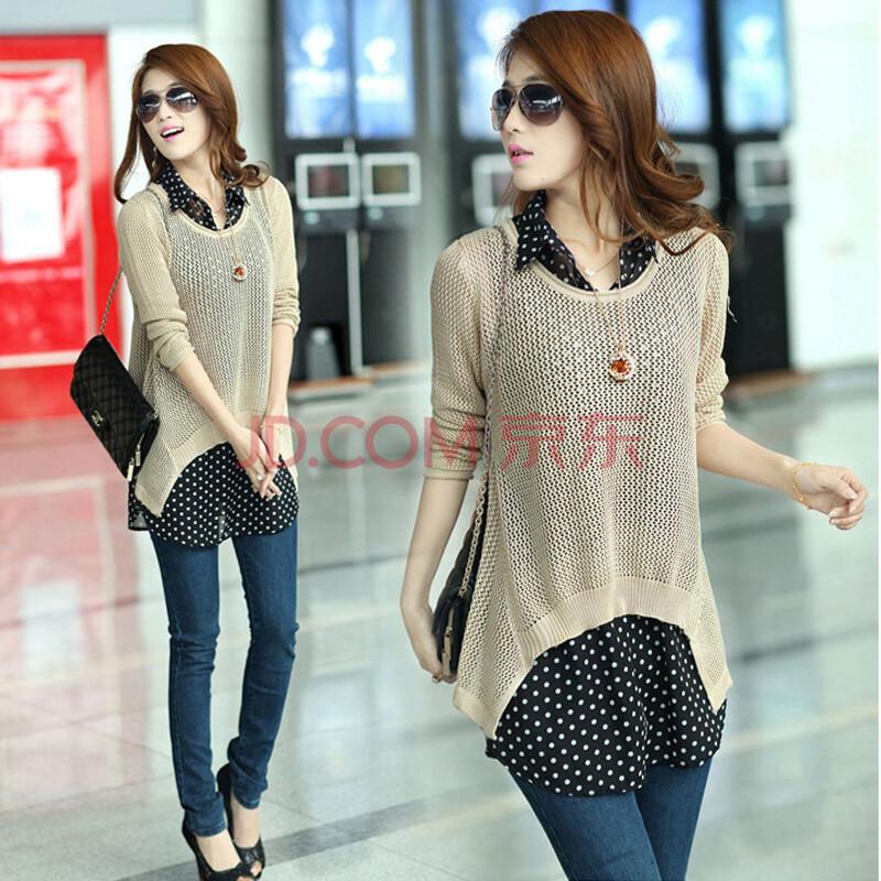 阁斯岚 2014女装春季新款韩版两件套针织衫毛衣 雪纺衬衫glj001 米