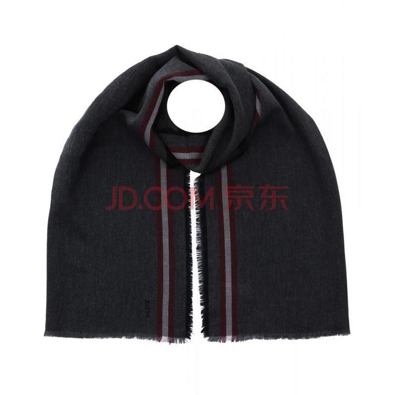 烟灰色羊毛混纺男士围巾