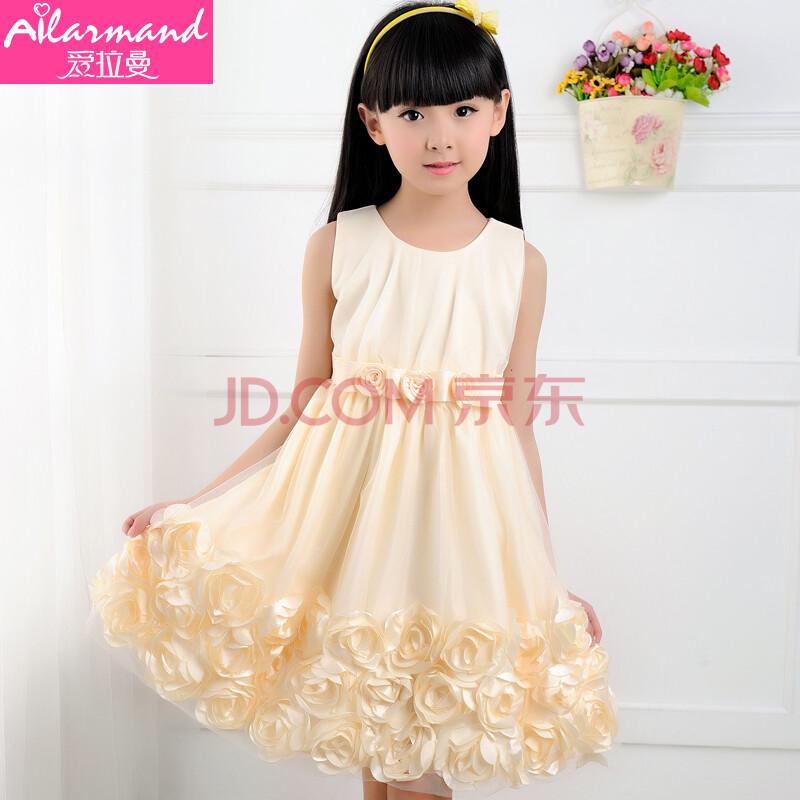 童玫瑰花朵裙子纯色公主裙图片