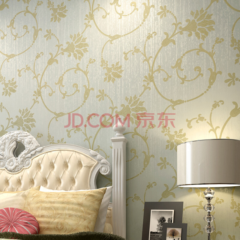 玛尚欧式壁纸 卧室客厅温馨立体放刺绣花
