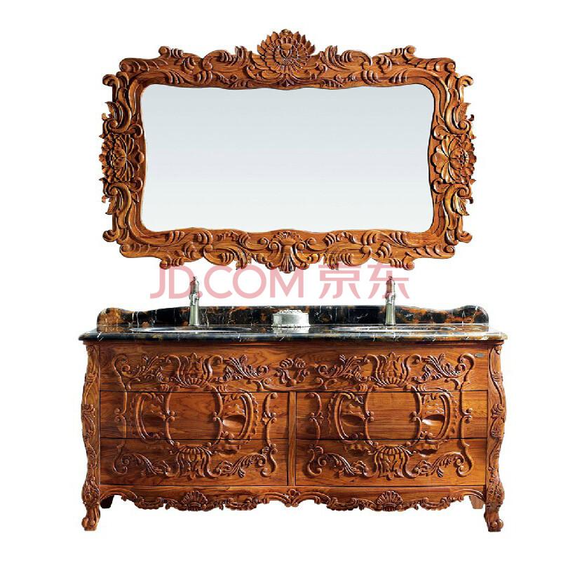 瑝玛卫浴 皇家浴室柜 纯手工雕花 双盆 欧式大理石台面浴室柜 进口