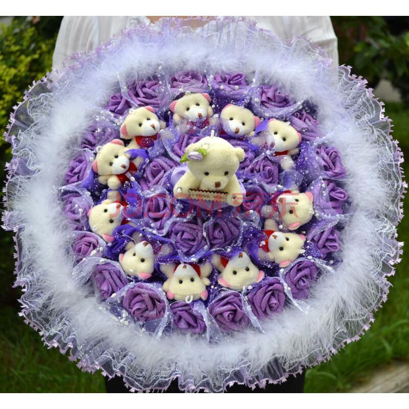 卡通花束小熊12只泰迪熊卡通鲜花布娃娃公仔花束