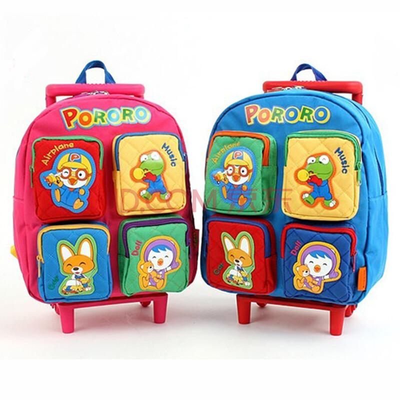 韩国正品pororo系列小企鹅儿童书包小学生拉杆箱拖