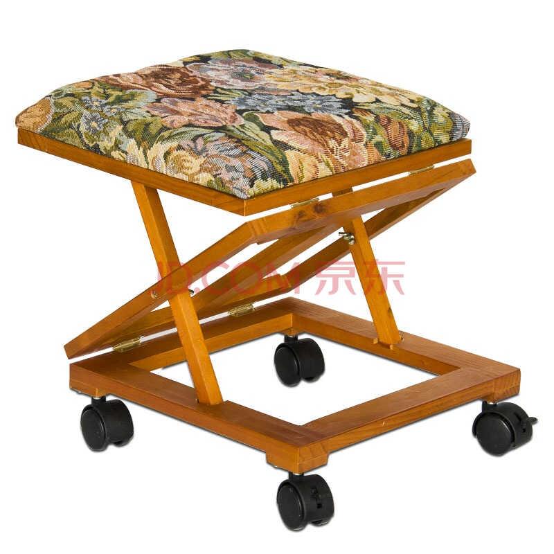 慧乐家 可移动沙发脚凳 欧式风格 可升降 靠脚凳 咖啡色 33039)