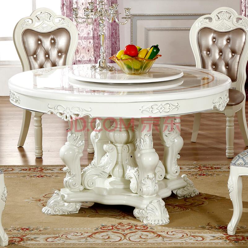 极鼎家具 欧式大理石餐桌 法式田园饭桌 转盘餐桌 餐厅组合桌子 荷花图片