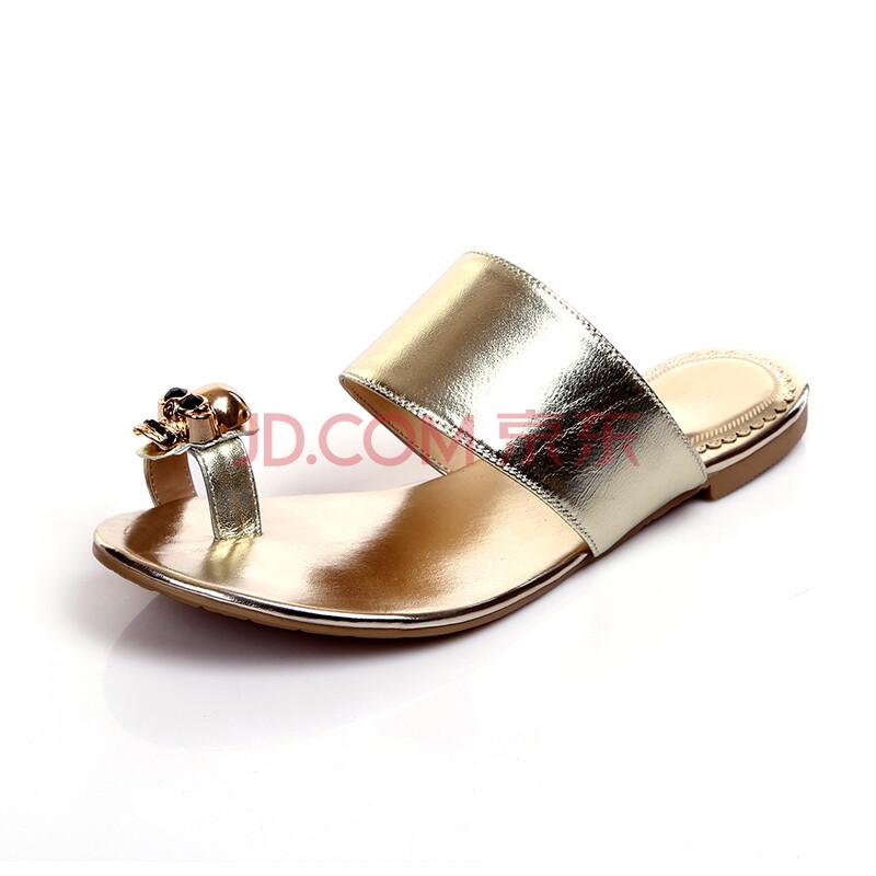 新款真皮平底低跟女凉鞋休闲韩版套指女夹板女拖鞋k