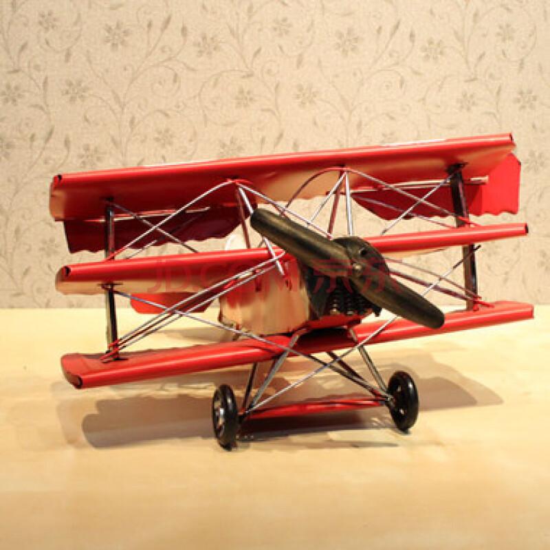 快乐鱼 仿古三翼飞机模型 铁艺飞机模型 复古工艺摆设