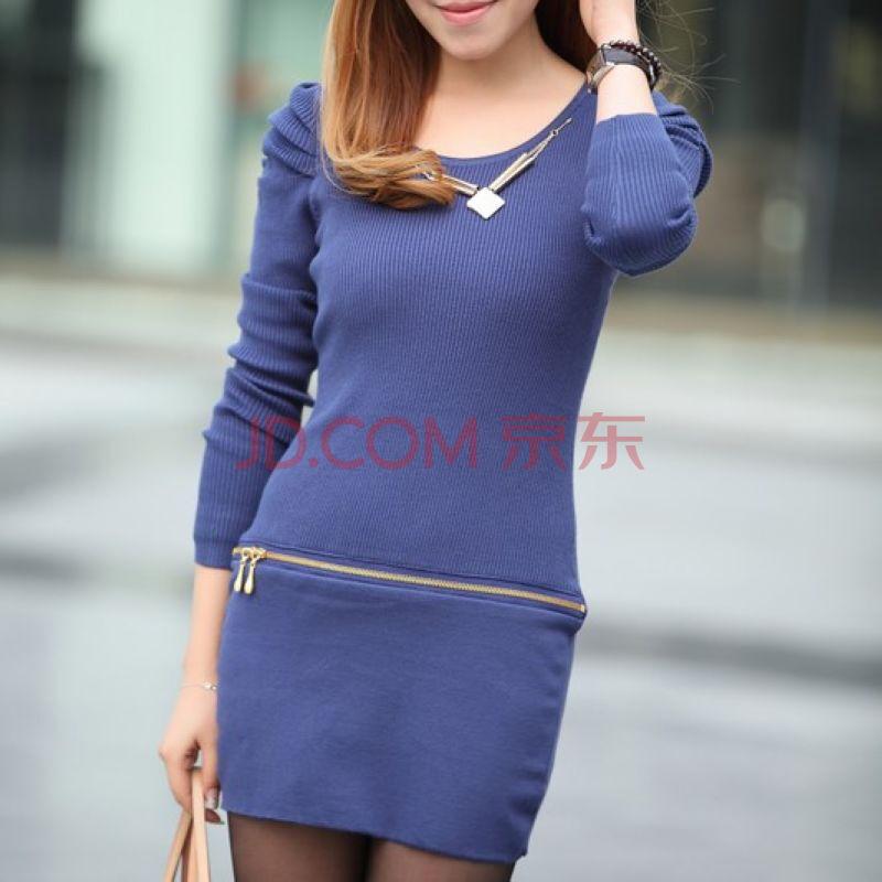 蓝色针织衫女