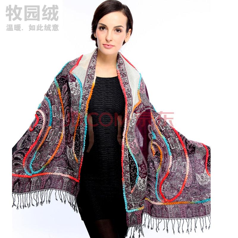 牧园绒 2014印度进口纯手工编织羊毛围巾披肩两用 超长加宽波西米亚