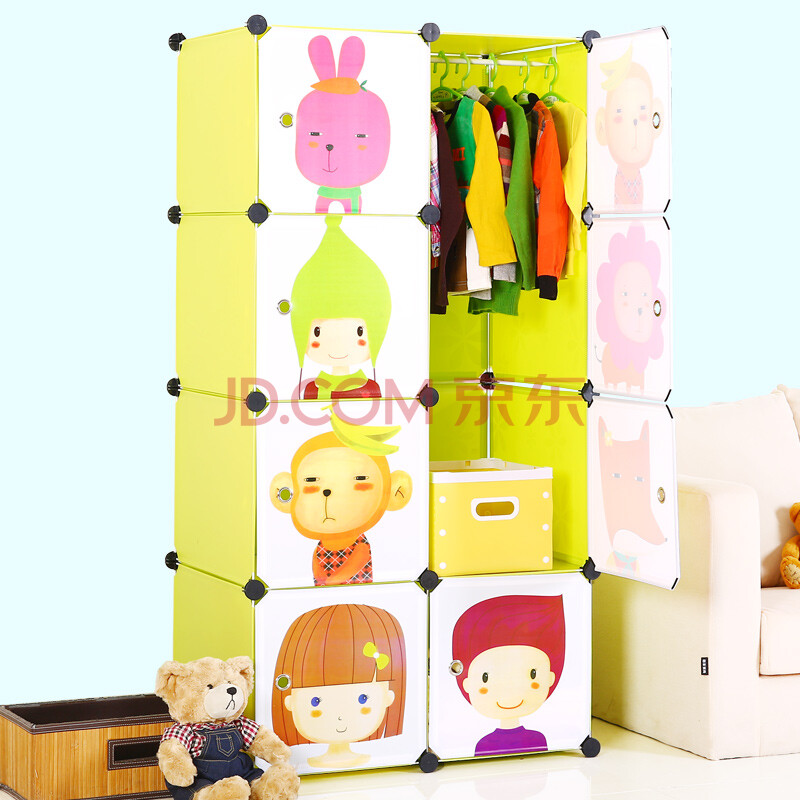 蔻丝 创意儿童简易魔片衣柜卡通动物图案柜子 宜家环保树脂百变收纳柜