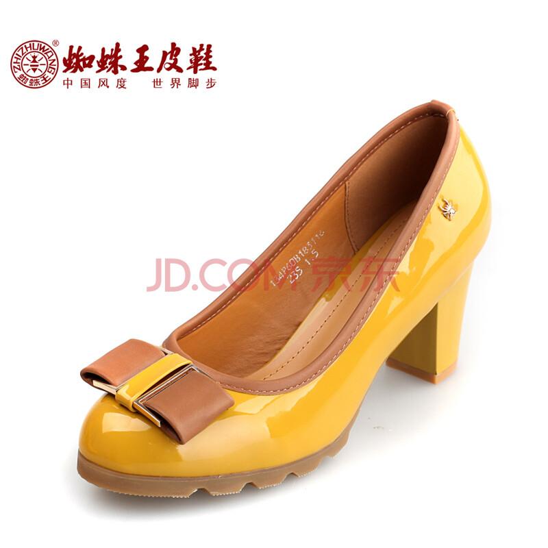 蜘蛛王女鞋2014款春季粗跟女式皮鞋时尚潮流韩版蝴蝶