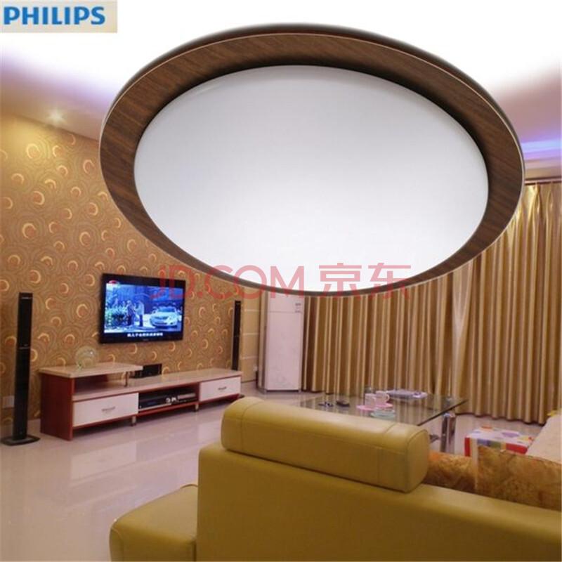 飞利浦中式吸顶灯 客厅卧室圆形吸顶灯 明月 木框棕色 40w含光源