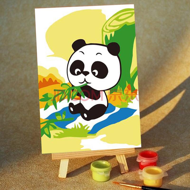 10x15精装送画架 熊猫吃竹子