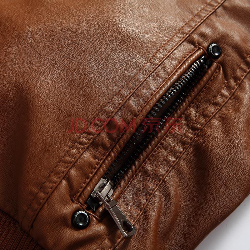乐则行2013新款男装男士休闲立领加绒加厚皮衣 男PU皮夹克外套 韩版修身秋冬款RP501 土黄色 XL