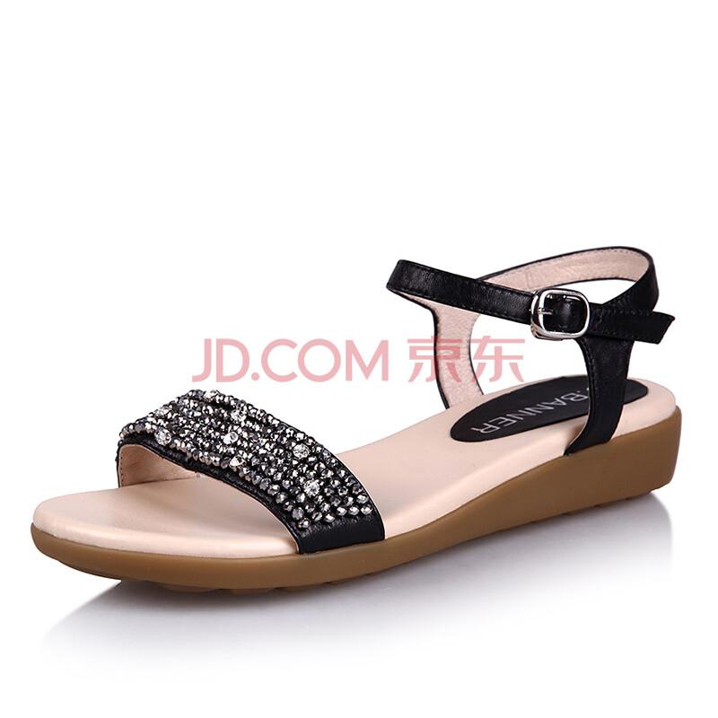 千百度正品 2014夏季新款女鞋羊皮低跟凉鞋
