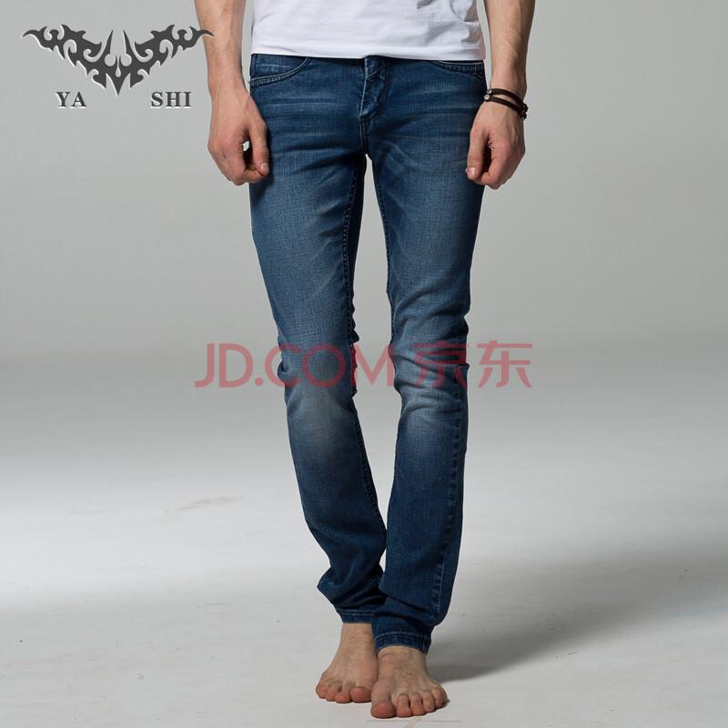 亚仕2013秋季新款男式蓝色水洗修身弹力舒适型牛仔裤