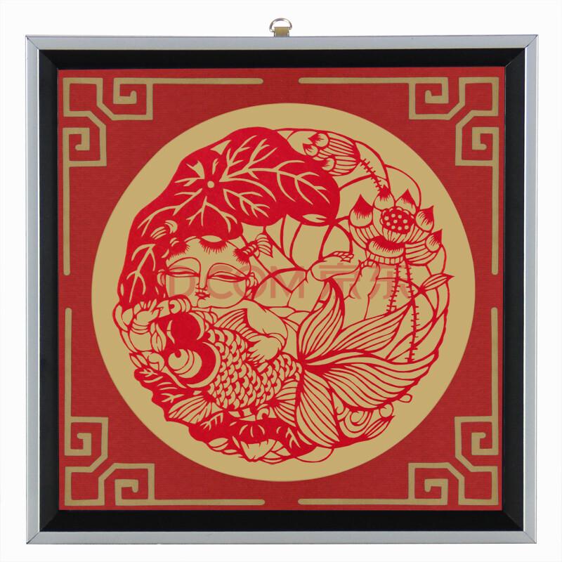 伟龙 手工剪纸框 镂空雕刻剪纸画 莲花鱼童3; 礼品箱包 礼品 工艺礼品