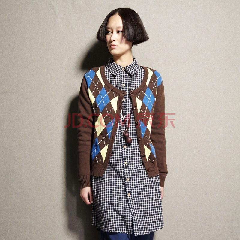设计师品牌女装森宿 听风者 秋装新款 学院复古菱格针织衫女开衫图片