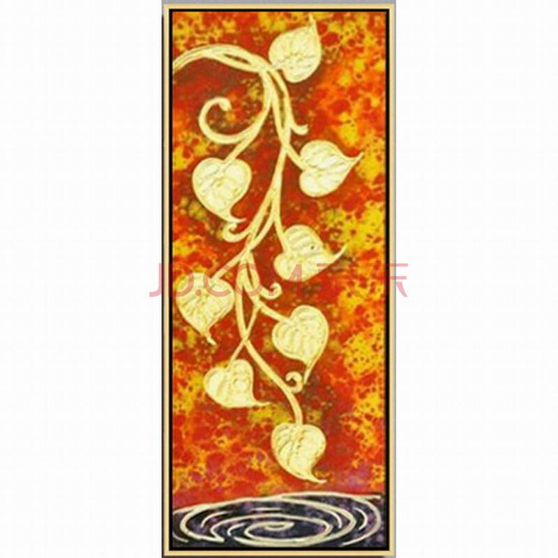 博艺佳【黄金菩提叶】家居装饰画手绘油画 欧式花卉油画 高档有框画