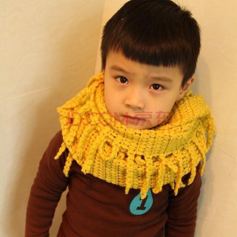 chocolate男女童秋冬款潮搭玉米粒镂空花纹围脖儿童围巾 黄色 均码