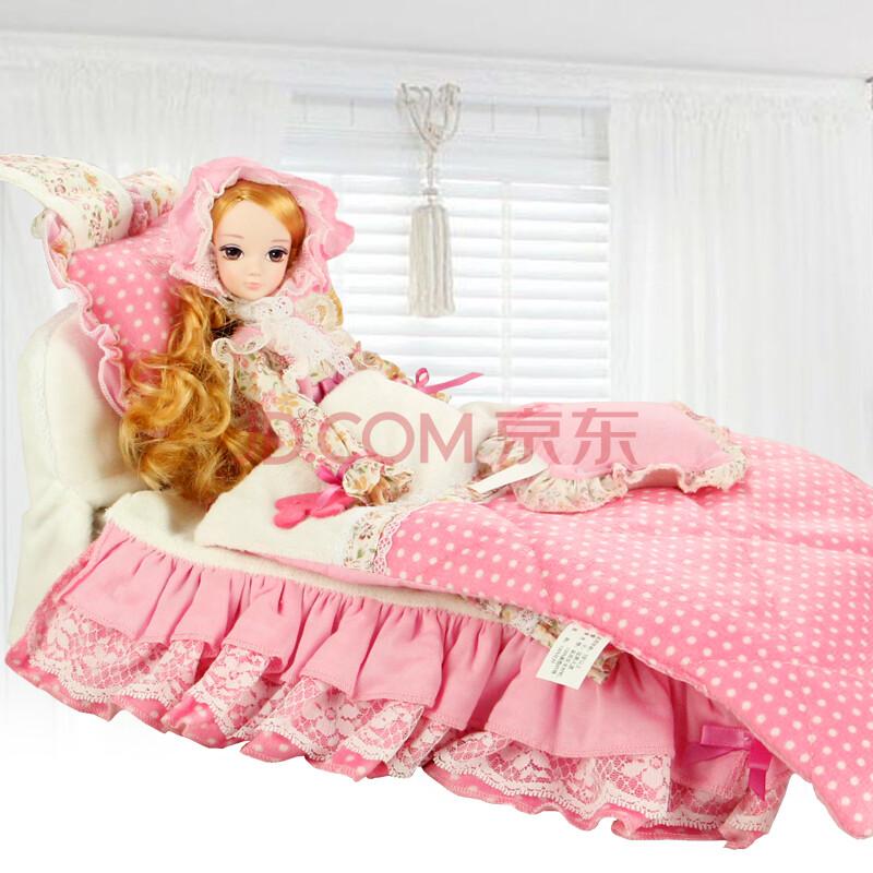 可儿娃娃卧室组合套装 甜美可儿晚安宝贝梦幻床组 娃娃玩具 过家家
