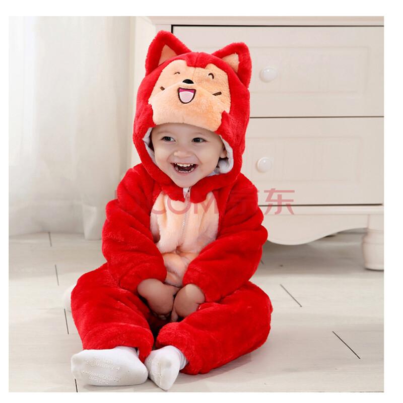 婴儿服装冬装1-3岁宝宝连体衣动物造型哈衣爬