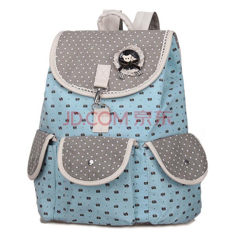 韩版复古帆布女书包女生电脑包时尚多用途背包