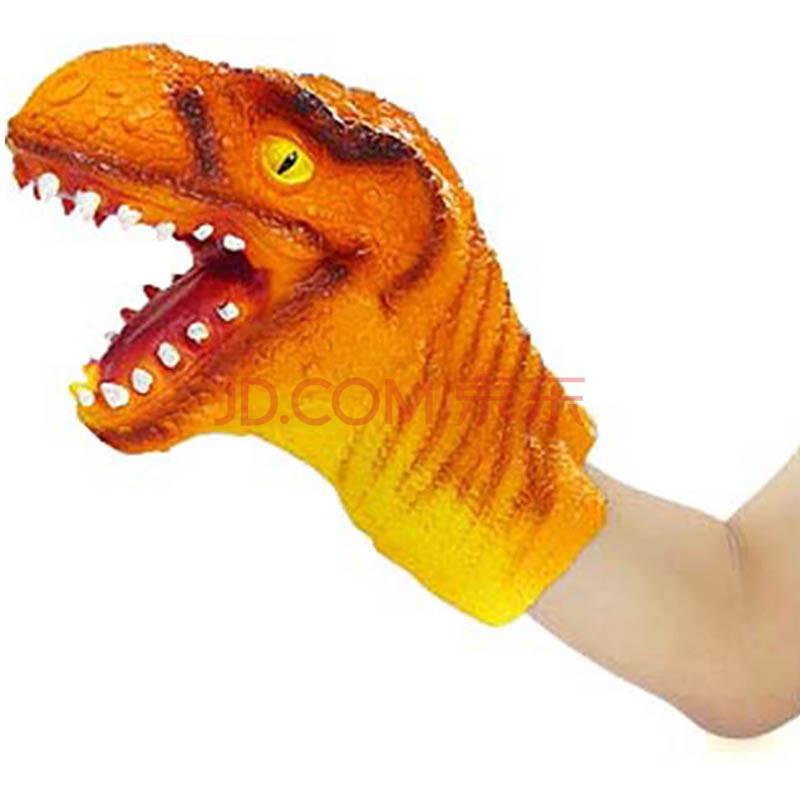 poscn 恐龙手偶手套精品恐龙头软胶任意变形塑胶玩具动物玩偶互动玩具