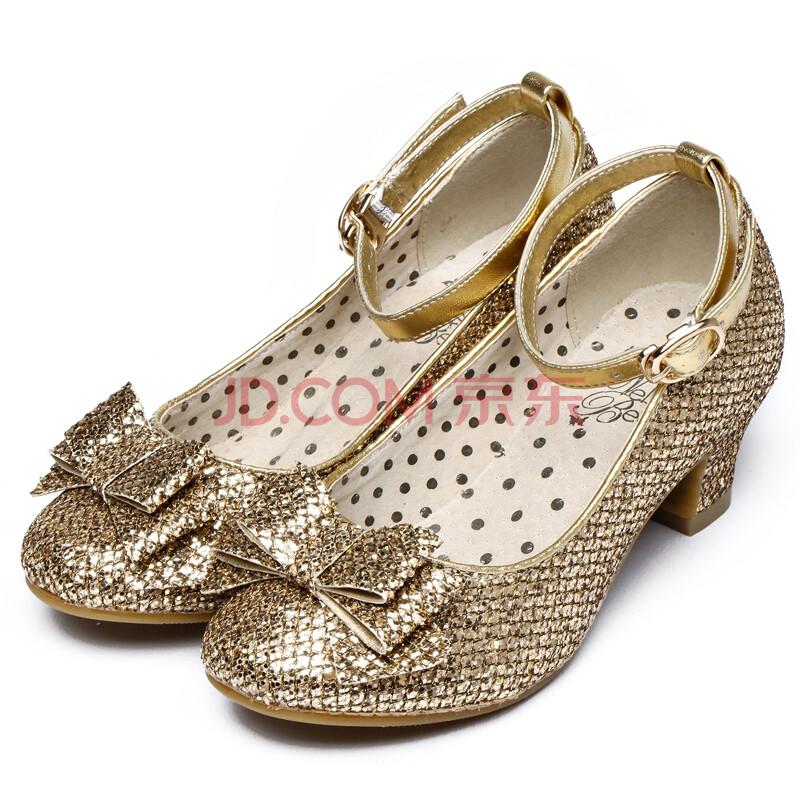 鞋子女孩子公主中高跟大童亮片拉丁舞蹈鞋11396-2