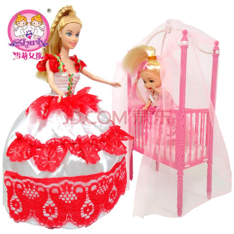 雪莉女孩玩具芭比娃娃套装礼盒洋娃娃公主婴儿床芭芘