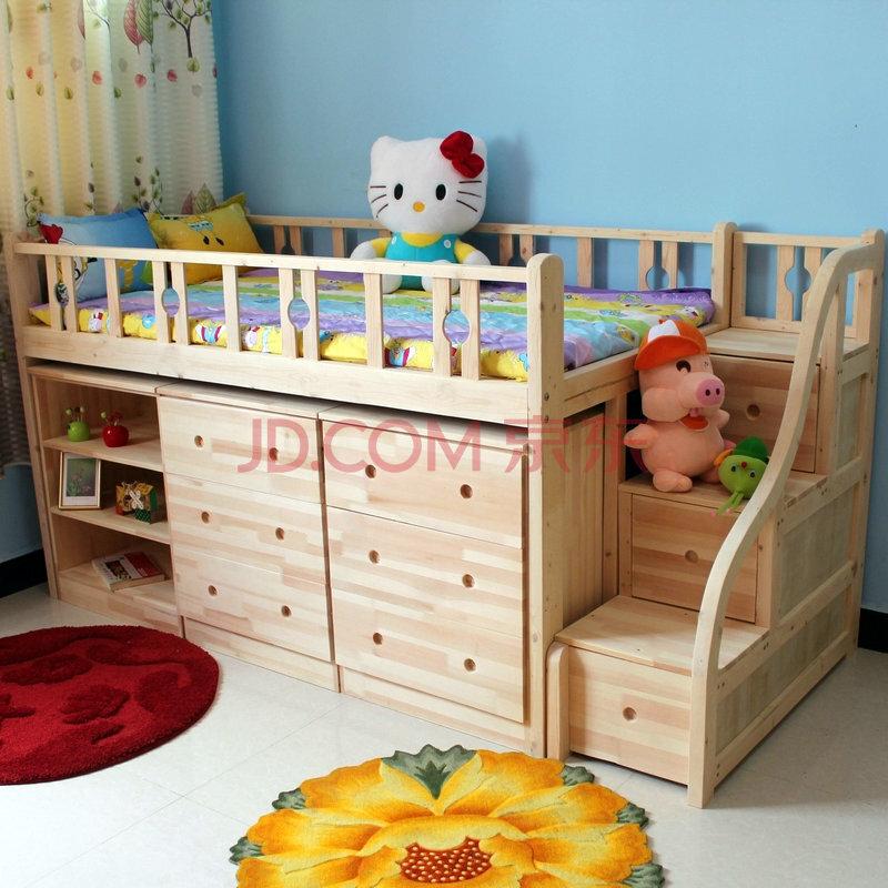半高梯柜床松木儿童床
