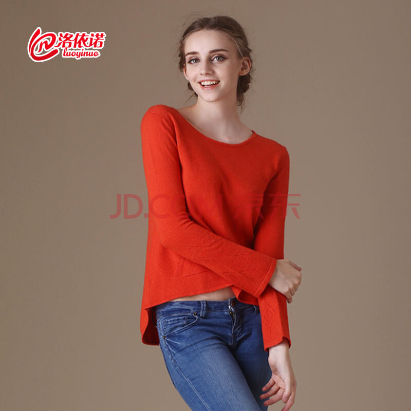 洛依诺女士不规则时尚韩版羊绒衫前短后长喇叭袖毛衣针织羊绒毛衫图片