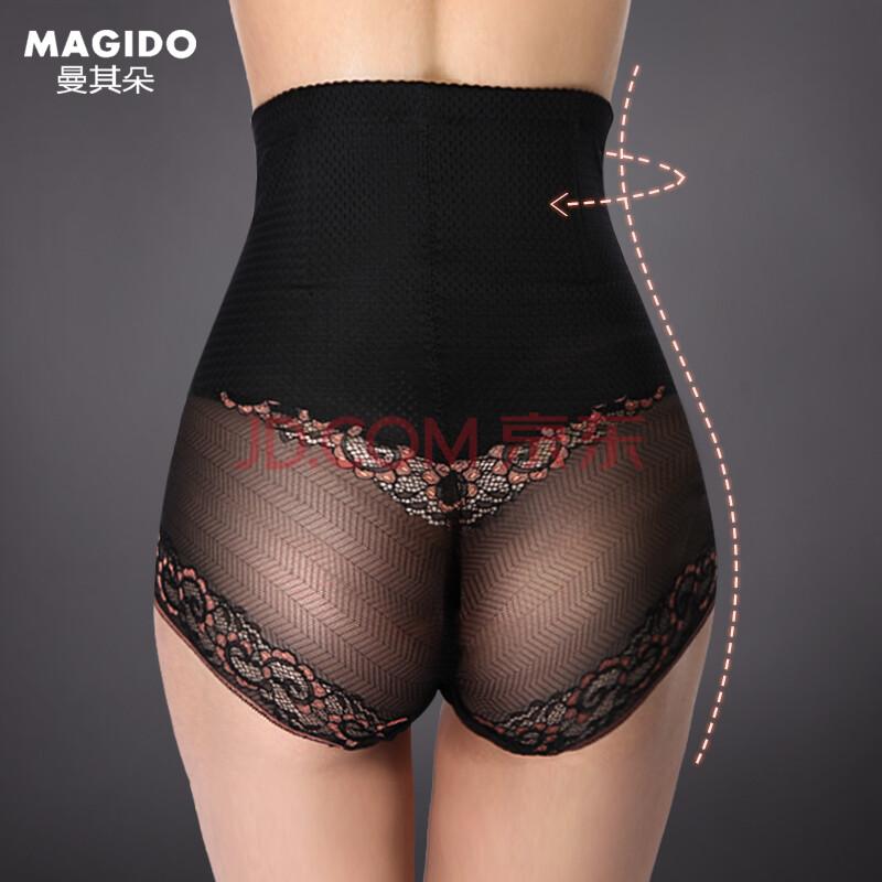 曼其朵新款透明蕾丝女士性感内裤裆底纯棉高腰塑身裤