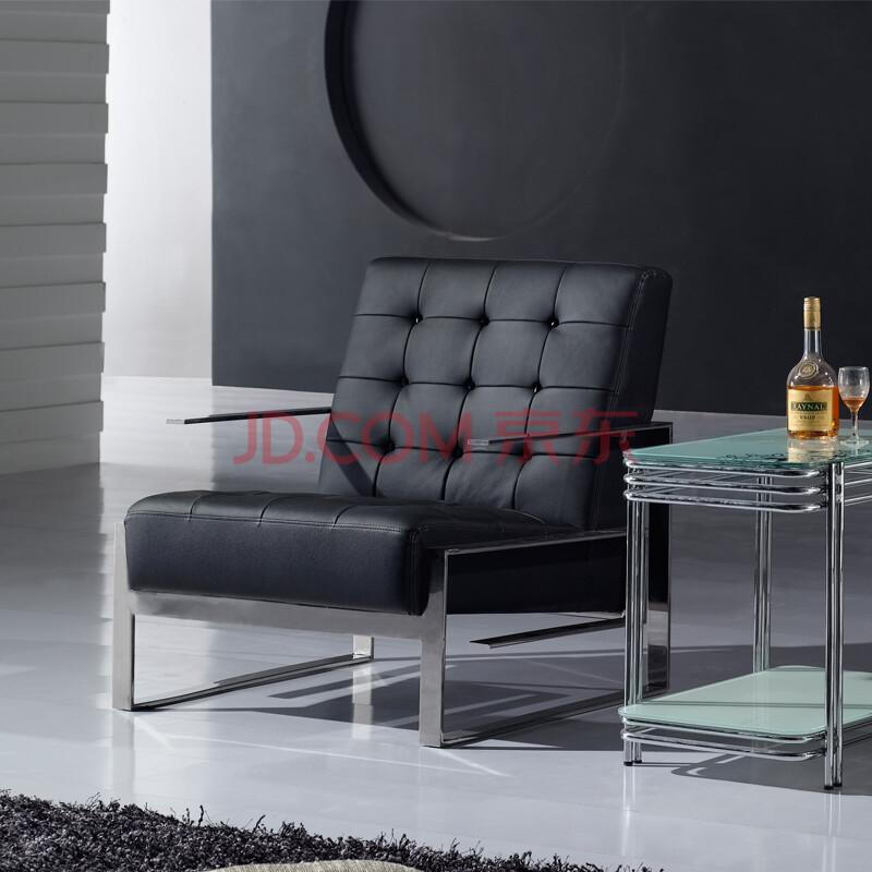 利达斯 黑白调 欧式时尚沙发椅 真皮沙发椅 单人休闲椅b-17 黑色 市内图片