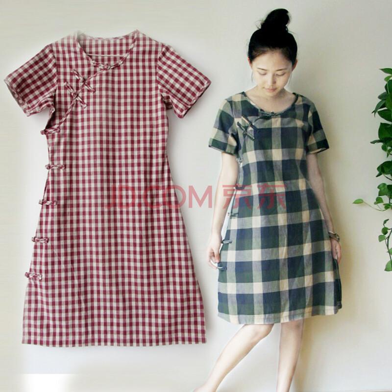 中国风 复古原创纯手工 改良圆领旗袍 上衣 长衫 格子