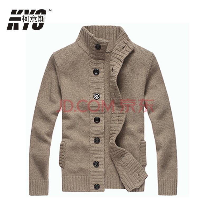 柯意斯 短款毛衣男款加厚保暖针织衫 韩版修身休闲男冬装开衫 男士