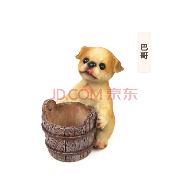 如果roogo超萌迷你卡通宠物小狗动物花盆手工彩绘环保树脂花器微型