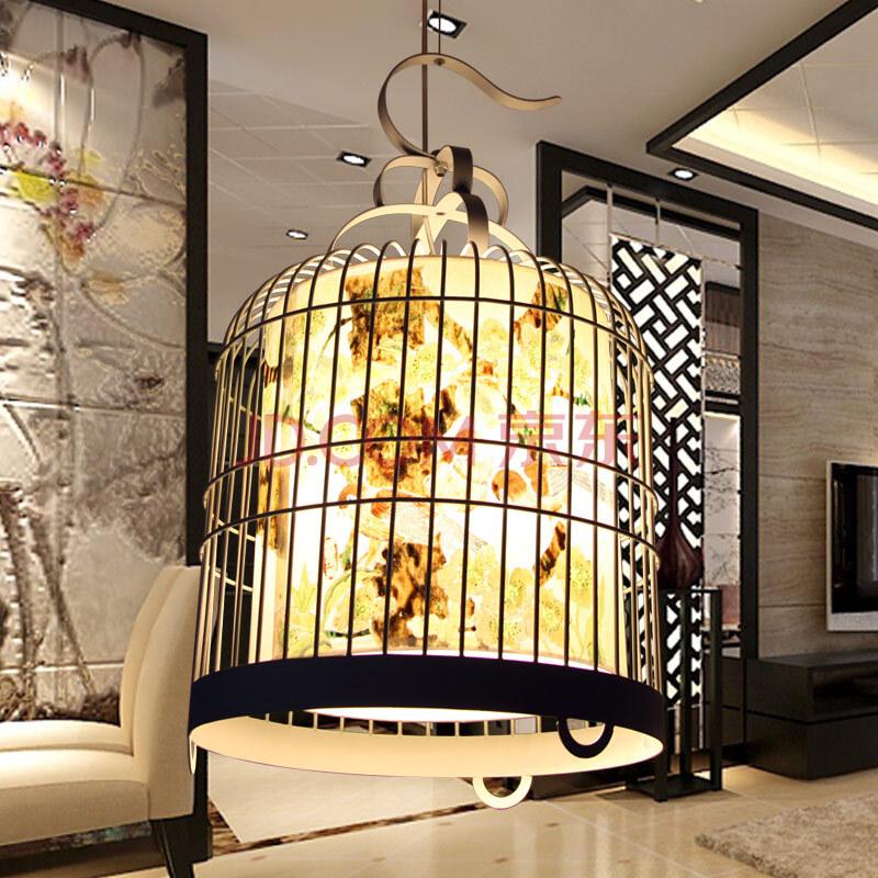比月中式鸟笼铁艺中国风宣纸手绘画 客厅组合灯餐厅书房吊灯 3078