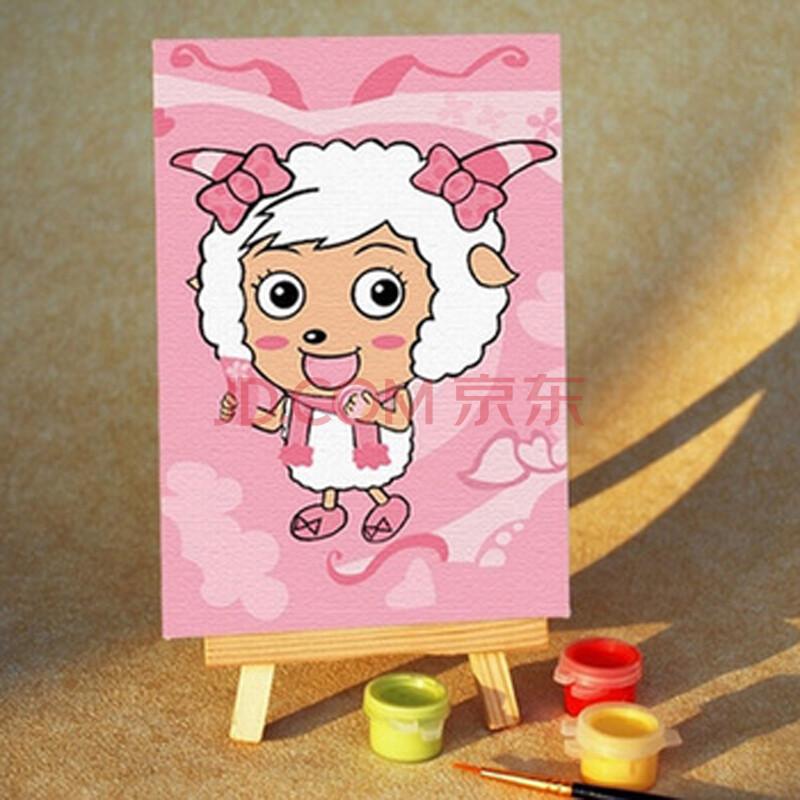 diy数字油画手绘儿童卡通迷你画 美羊羊