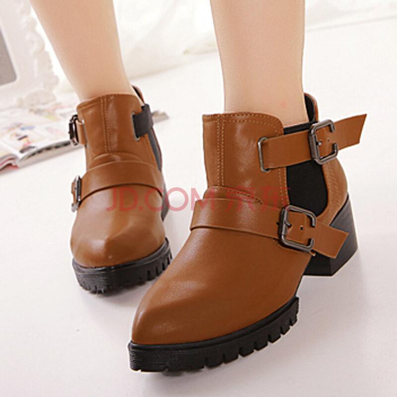粗跟冬季平底马丁靴 女靴