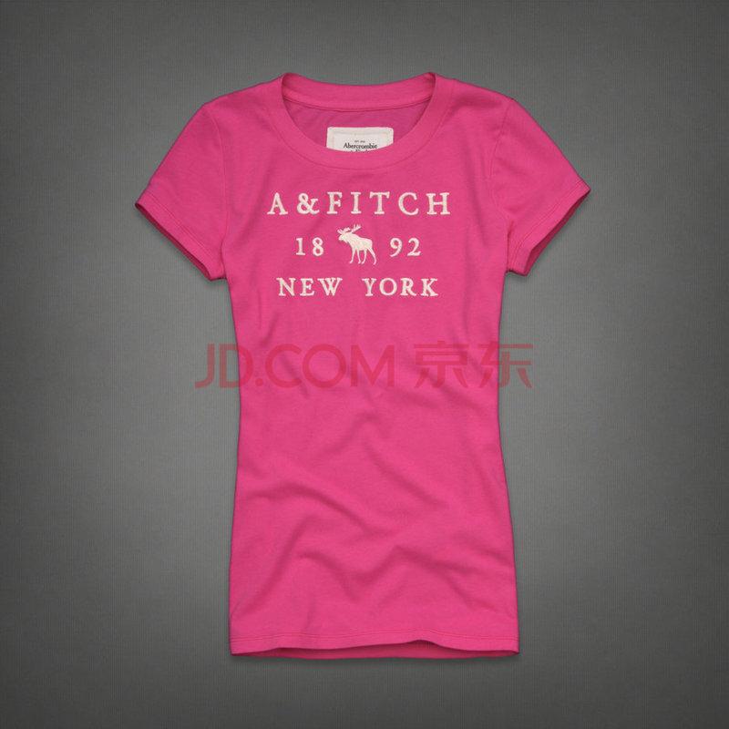 阿贝克隆比 & 费奇 (a&f) 字母刺绣图案女士粉红色短袖t恤衫 af49 l