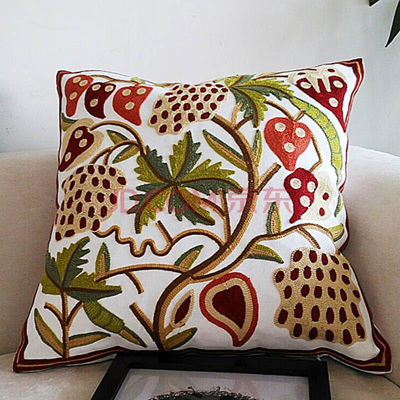 美式田园风格精品刺绣抱枕靠垫图片