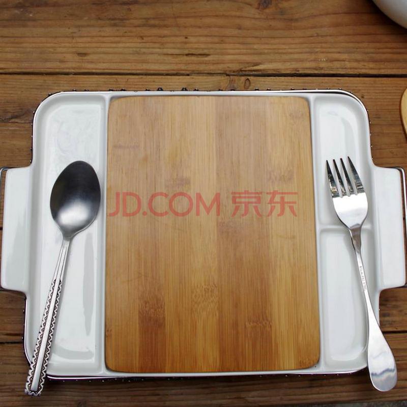 pinho欧式西餐盘陶瓷餐具盘不锈钢托架皇家餐具竹