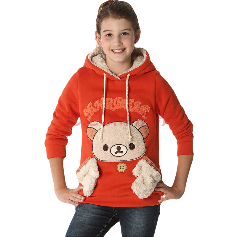 poscn 卫衣女童可爱小孩衣服大童装加厚带帽卫衣 xm2734-0038 建议