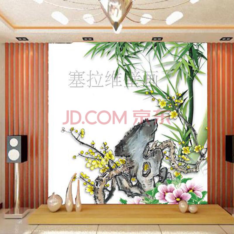 中式壁画壁纸竹子梅花电视沙发背景墙|客厅玄关大型壁画壁布包邮 加厚