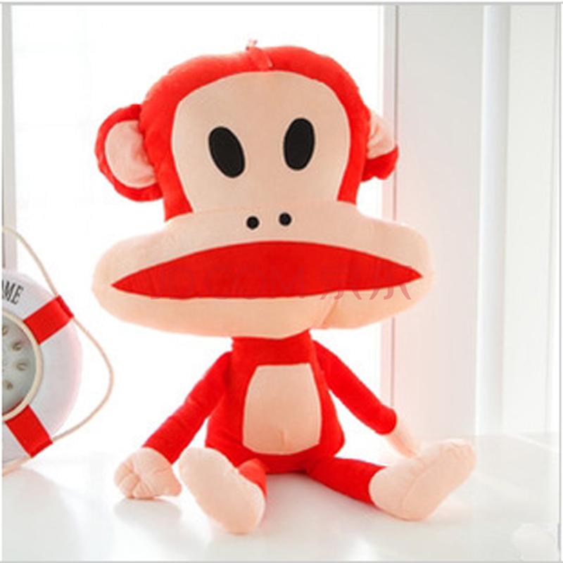布娃娃猴子嘻哈猴抱枕超大可爱六一儿童节礼物品 红色大嘴猴 60cm