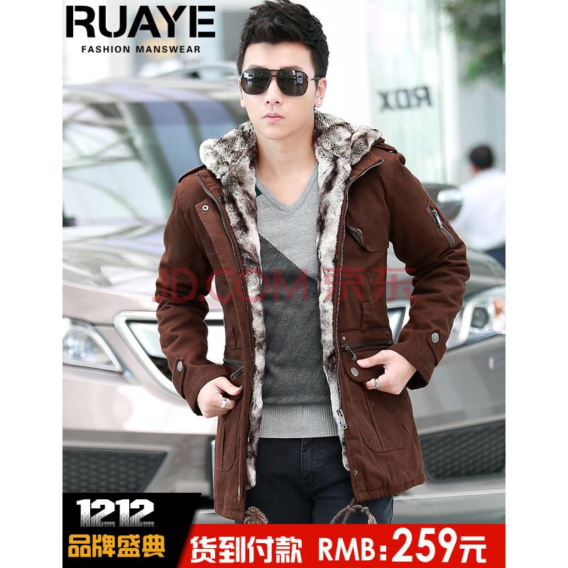 ruaye 男装冬装大衣韩版潮男士修身中长款加绒风衣男 男外套R04F06 咖啡色 175/L