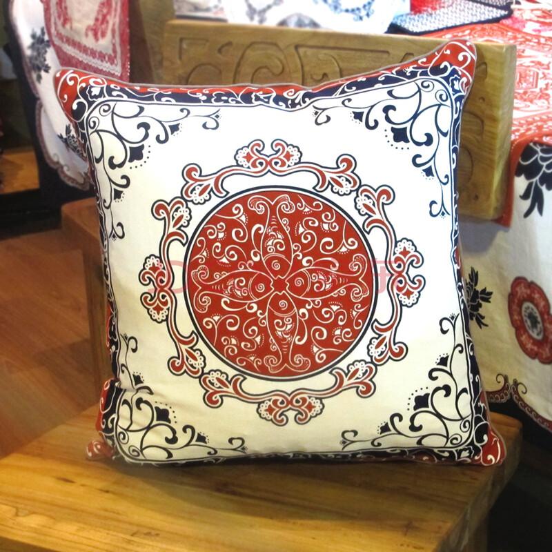 年货中式风格民族风 四喜加鱼纯棉印花靠垫抱枕靠枕 红底白花纹 55x55