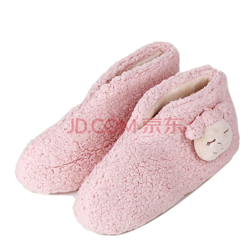 冬季卡通可爱羊头情侣拖鞋
