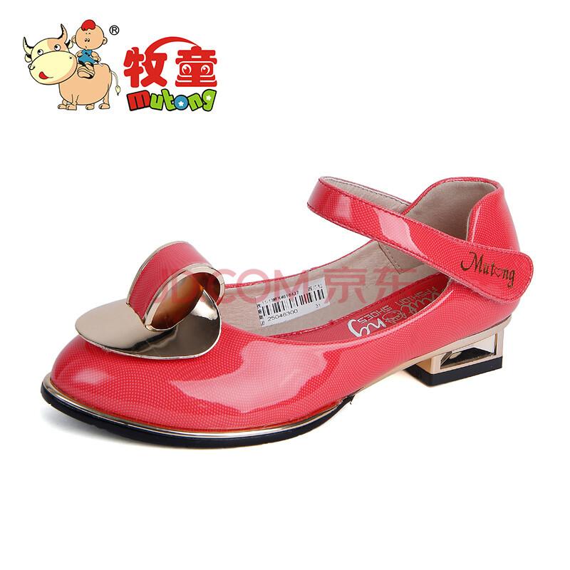牧童童鞋 2014春季新款女童清新公主皮鞋儿童方口单